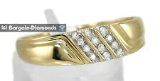 mens diamond .12 carats 10K yellow gold ring wedding band dress anniversary mans