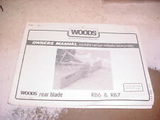 Woods RB6 RB7 REAR BLADE OWNERS MANUAL PARTS LIST DIRT SNOW GRADER 3-POINT