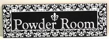 French Damask & Fleur De Lis Powder Room Wooden Sign Plaque NEW!