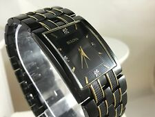 Bulova 98D004 4 Real Diamonds Men's Wwatch Gold Plated & Lonic Plated Black Dial
