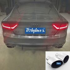 """Pair RS-Style duplex oval exhaust tips for AUDI A7 S7  2.5"""" inlet"""
