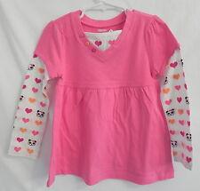 NWT Girl Gymboree Pink T-shirt w/ cute panda bear hearts at the sleeves 4T