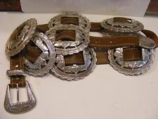 Womens BRIGHTON Silver Sunflower Conchos on Brown LEATHER BELT 28 29 30 31