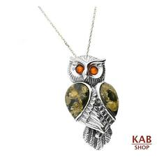 GREEN BALTIC AMBER PENDANT-OWL STERLING SILVER 925. KAB-281