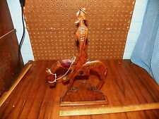 """Vintage Hand Carved Wood DON QUIXOTE On Horse Figurine - 15"""" Tall"""