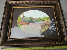 original water color painting Train on Railroad Bridge signed by artist & framed