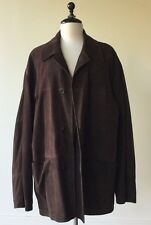 Ermenegildo Zegna Mens Dark Brown Suede Leather Car Coat Jacket Sz Large 52 MINT
