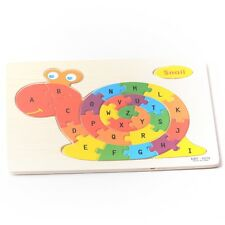 Cute Snail Kids Toy Wooden ABC Alphabet Educational Learning Child Puzzle Jigsaw