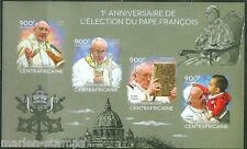 CENTRAL AFRICA  2014 1st ANNIVERSARY ELECTION OF  OF POPE FRANCIS SHT IMPRF  NH