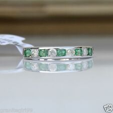 Channel Set Natural Emerald & Diamond Half Eternity Ring 10k White Gold Gift Box