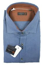 Men's CORNELIANI ID Blue Cotton Slim Fit Dress Shirt 18 1/2 46 2XL XL NWT