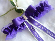 PERSONALISED WEDDING/ HEN GARTER DIAMANTE BAR CHOICE OF DIFFERENT COLOUR GARTERS