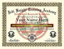 STAR WARS Certificate / Diploma Prop (JEDI KNIGHT TRAINING) Custom w/ Your Name