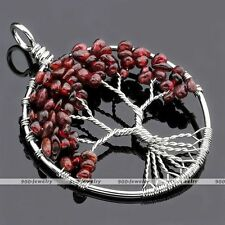 Garnet Tree of Life Gems Handmade Wire Wrap Chip Beads Pendant Craft Necklace