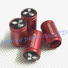 Aluminum Red Matting Car Wheel Tyre Tire Stem Air Valve Cap For MITSUBISHI Motor