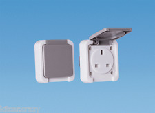 GREY MAINS EXTERNAL 13AMP OUTLET SOCKET WITH FLAP 240V, CARAVAN,  MOTORHOME,