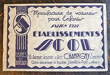 VOITURES POUR ENFANTS, LANDEAU, SCOL 1928, CATALOGUE ET TARIFS.