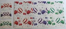Christmas Baubles Red Purple Green Christmas gift wrap 12 sheets & 12 tags