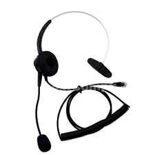 New 4-Pin RJ11 Telephone Monaural Corded Headset Black US STOCK