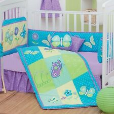 New Baby Girl FANTASY BUTTERFLY Purple Embroidered Nursery Crib Bedding Set 5 PC