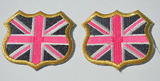 2x GB UNION JACK FLAG  (Fault) Embroidery Sew Iron On Cloth Patch Badge APPLIQUE