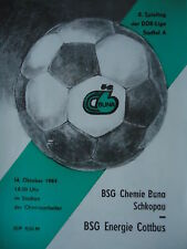 Programma 1984/85 BSG Chemie Buna Schkopau-energia Cottbus