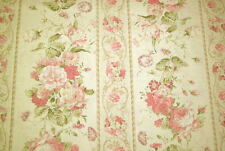 Cottage Shabby Chic Fabric Mary Rose 2140Y-12A, Large Scale Floral Stripe BTY