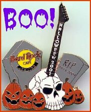 Hard Rock Cafe BEIJING 2001 HALLOWEEN PIN Skull Guitar Graveyard Pumpkins #1126