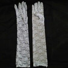Women Lace Floral Gloves Black Red Opera Length Evening Bridal Burlesque