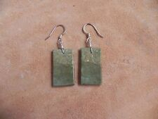 Green Turquoise Slab Square shape & Sterling Silver Earrings Santo Domingo