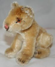 """steiff lion cub mohair no button excellent condition 4"""" tall glass eyes whiskers"""