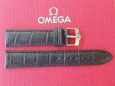NOS 18MM BLACK CROCO WATCH BAND WATCHBAND BRACELET STRAP W/ SS BUCKLE FIT OMEGA