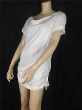 NEW FAMOUS CATALOG DREAM ANGELS COTTON BLEND SIDE TIE TUNIC TEE TOP WHITE SZ M