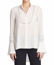 NWT RACHEL ZOE WOMEN Sz8 VIRGINIA BABY COLLAR LONG SLEEVE SILK BLOUSE IVORY $295