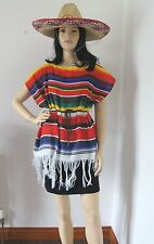 Poncho Messicano WOMANS Costume Poncho e Cintura Costume Cappello (non incluso)