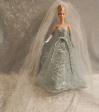 Collector Edition Barbie Doll Baby Blue Dress Gown 2001 #014 + All Accessories