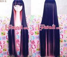 "USA Ship!Long Indigo and pink ""Panty&Stocking with Garterbet"" Cosplay Wig RW120"