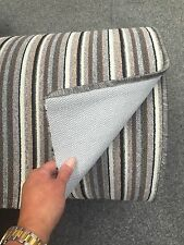 Any Length .. Washable Berber Carpet Runner , Grey Stripe , Stairs Hall Kitchen