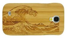 SAMSUNG GALAXY S4 BAMBOO WOOD CASE WAVE  ENGRAVED REAL WOOD COVER + SCREEN GUARD