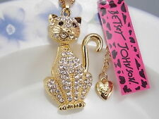 Betsey Johnson fashion jewelry Cute white cat Crystal pendant necklace #A