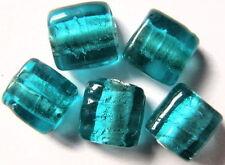 13 SILBERFOLIE GLASPERLEN QUADRATE 10MM BLAU-GRÜN Q5-04