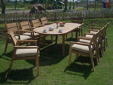 """11 PC OUTDOOR TEAK DINING SET - 117"""" OVAL EXTENSION TABLE,10 STACKING ARM CHAIRS"""