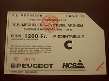 TICKET  KV MECHELEN - VITESSE ARNHEM 3/11/1992