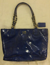 Coach Madison Blue Ultramarine Patent Leather Tote Bag Purse Shoulder Chain