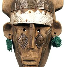 Art Africain - Masque Bambara aux Longues Cornes & Plaques Métalliques - 40 Cms