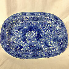 """BROWN WESTHEAD & MOORE ENGLAND SIAM OVAL TRAY 7 1/8"""" FLOW BLUE BWM FLOWERS"""