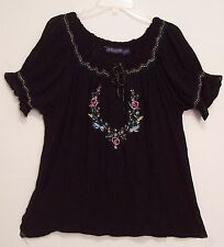 EMBROIDERED Mexican style BLACK Rayon GAUZE Hippie PEASANT Top Blouse Shirt L