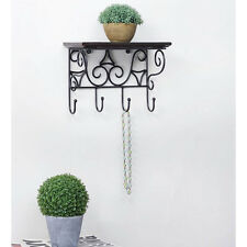 Wooden & Wrought Iron Premium Wall Bracket | Book Rack | Cloth Hanger