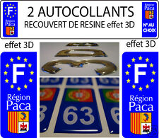2 STICKERS RECOUVERT DE RESINE PLAQUE IMMATRICULATION REGION PACA VERSION 3