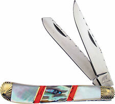 """FROST OCOEE RIVER TRAPPER POCKET KNIFE PEARL ABALONE TURQUOISE 3 3/4"""" OC508MPABR"""